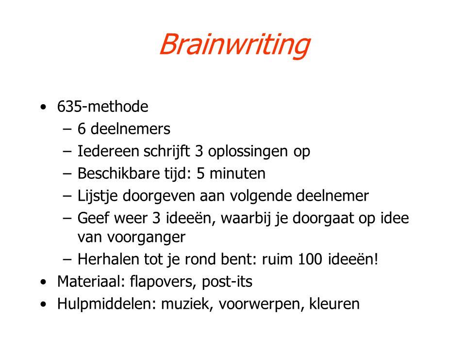 Brainwriting 635-methode –6 deelnemers –Iedereen schrijft 3 oplossingen op –Beschikbare tijd: 5 minuten –Lijstje doorgeven aan volgende deelnemer –Gee