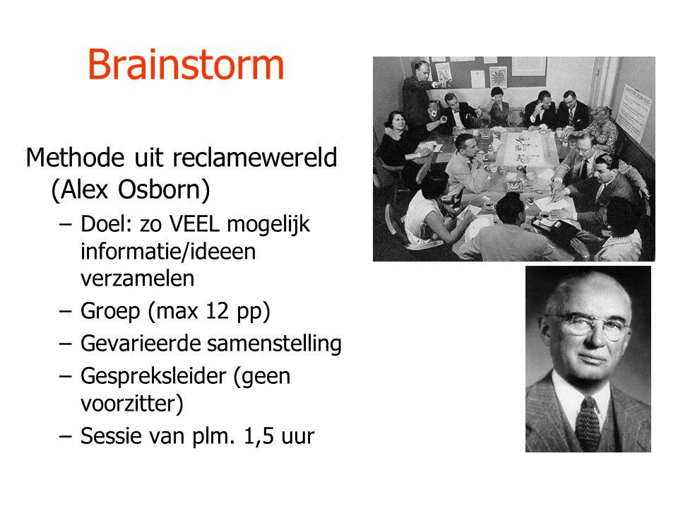 Brainstorm Methode uit reclamewereld (Alex Osborn) –Doel: zo VEEL mogelijk informatie/ideeen verzamelen –Groep (max 12 pp) –Gevarieerde samenstelling