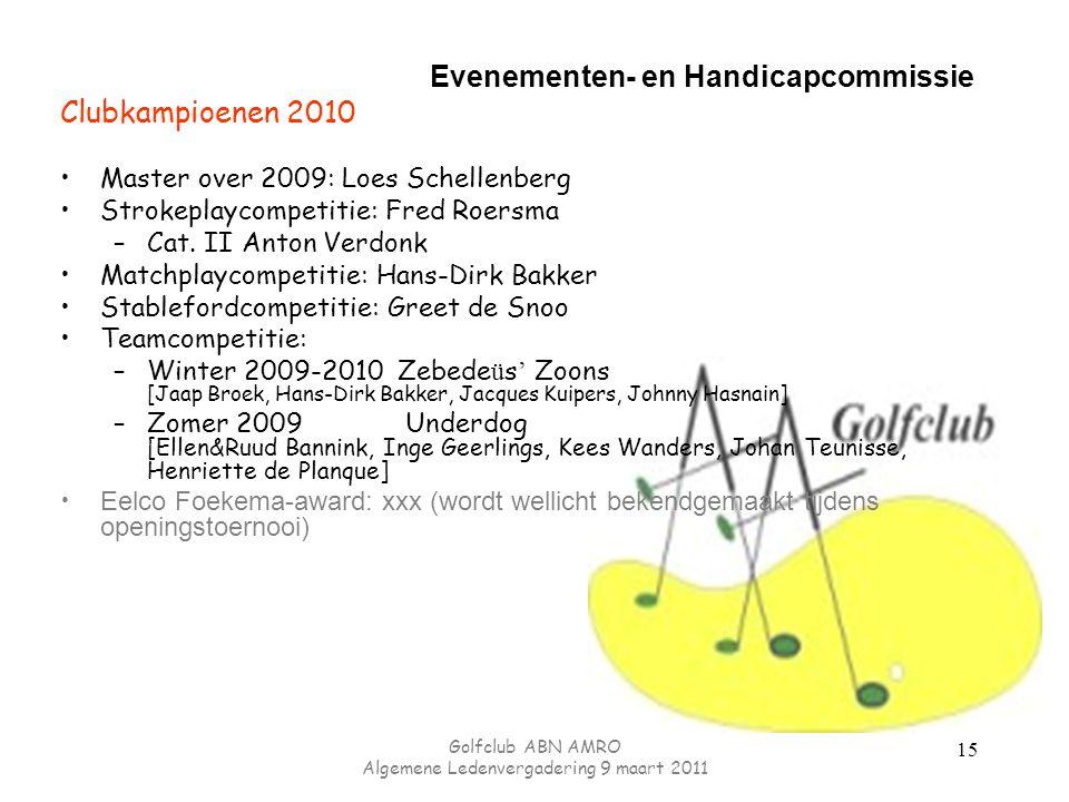 Evenementen- en Handicapcommissie Clubkampioenen 2010 Master over 2009: Loes Schellenberg Strokeplaycompetitie: Fred Roersma –Cat.