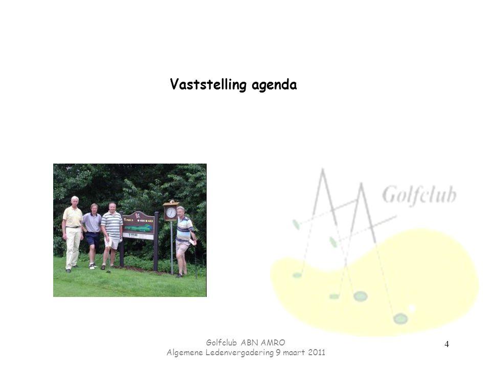 Golfclub ABN AMRO Algemene Ledenvergadering 9 maart 2011 Nieuwe plannen voor 2011 Gevorderden les Beginners les Pin-high Opvang nieuwe leden Spanje reis.
