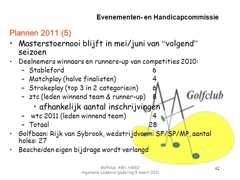Evenementen- en Handicapcommissie Plannen 2011 (5) Masterstoernooi blijft in mei/juni van volgend seizoen Deelnemers winnaars en runners-up van competities 2010: –Stableford6 –Matchplay (halve finalisten)4 –Strokeplay (top 3 in 2 categorie ë n)6 –ztc (leden winnend team & runner-up)8 afhankelijk aantal inschrijvingen – wtc 2011 (leden winnend team)4 –Totaal 28 Golfbaan: Rijk van Sybrook, wedstrijdvorm: SF/SP/MP, aantal holes: 27 Bescheiden eigen bijdrage wordt verlangd 42 Golfclub ABN AMRO Algemene Ledenvergadering 9 maart 2011