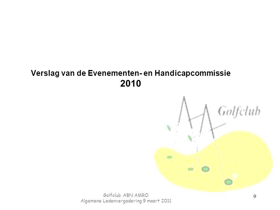 Golfclub ABN AMRO Algemene Ledenvergadering 9 maart 2011 Beleid: financieel beleid 1.Financiën op orde houden 2.Jaarlijkse financiën budget neutraal 3.Contributie beperkt houden (lichte verhoging conform ALV2010) 50