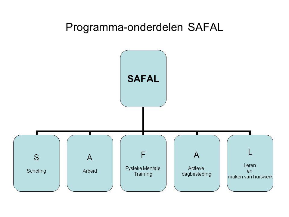 Programma-onderdelen SAFAL SAFAL S Scholing A Arbeid F Fysieke Mentale Training A Actieve dagbesteding L Leren en maken van huiswerk