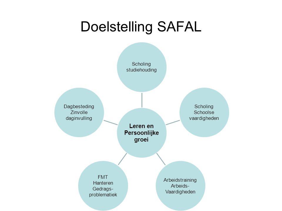 Doelstelling SAFAL Leren en Persoonlijke groei Scholing studiehouding Scholing Schoolse vaardigheden Arbeidstraining Arbeids- Vaardigheden FMT Hantere