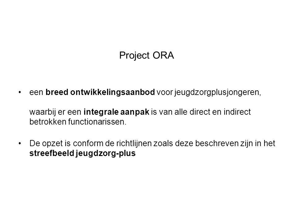 Project ORA een breed ontwikkelingsaanbod voor jeugdzorgplusjongeren, waarbij er een integrale aanpak is van alle direct en indirect betrokken functio