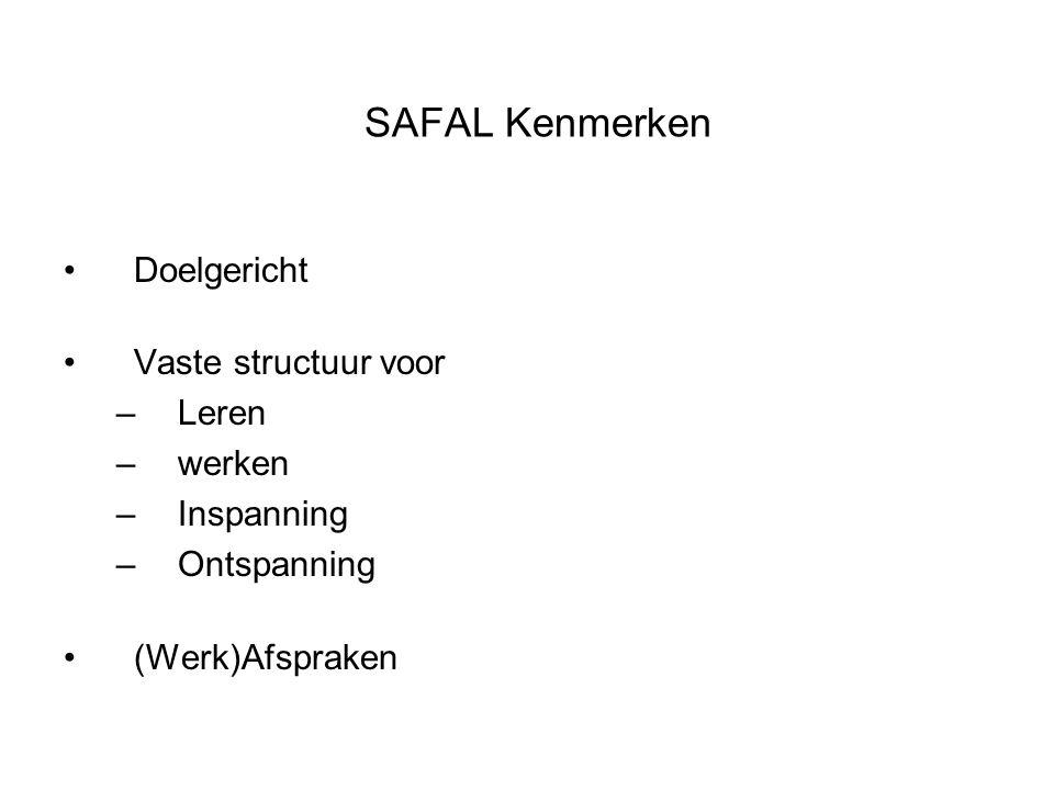 SAFAL Kenmerken Doelgericht Vaste structuur voor –Leren –werken –Inspanning –Ontspanning (Werk)Afspraken