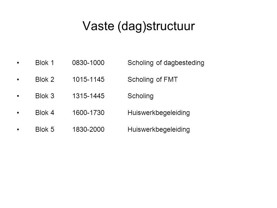 Vaste (dag)structuur Blok 10830-1000Scholing of dagbesteding Blok 21015-1145Scholing of FMT Blok 31315-1445Scholing Blok 41600-1730Huiswerkbegeleiding