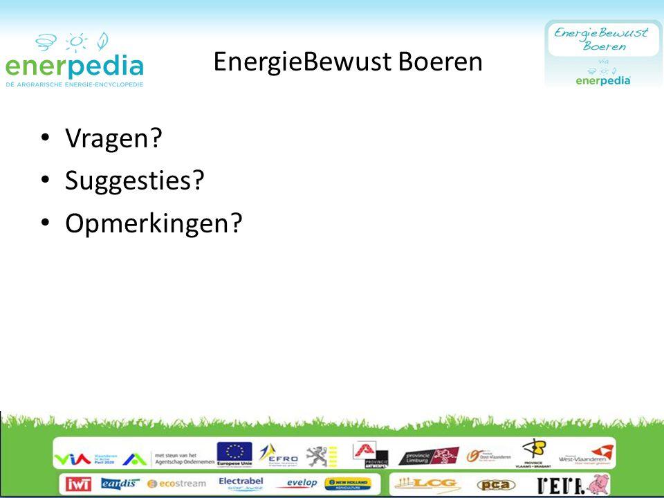 EnergieBewust Boeren Vragen? Suggesties? Opmerkingen?
