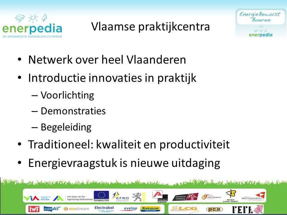 Vlaamse praktijkcentra Netwerk over heel Vlaanderen Introductie innovaties in praktijk – Voorlichting – Demonstraties – Begeleiding Traditioneel: kwaliteit en productiviteit Energievraagstuk is nieuwe uitdaging