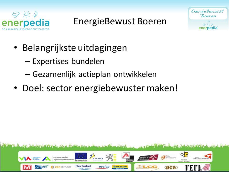 EnergieBewust Boeren Belangrijkste uitdagingen – Expertises bundelen – Gezamenlijk actieplan ontwikkelen Doel: sector energiebewuster maken!