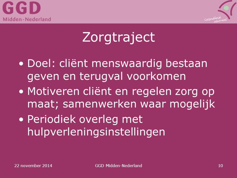 22 november 2014GGD Midden-Nederland10 Zorgtraject Doel: cliënt menswaardig bestaan geven en terugval voorkomen Motiveren cliënt en regelen zorg op ma