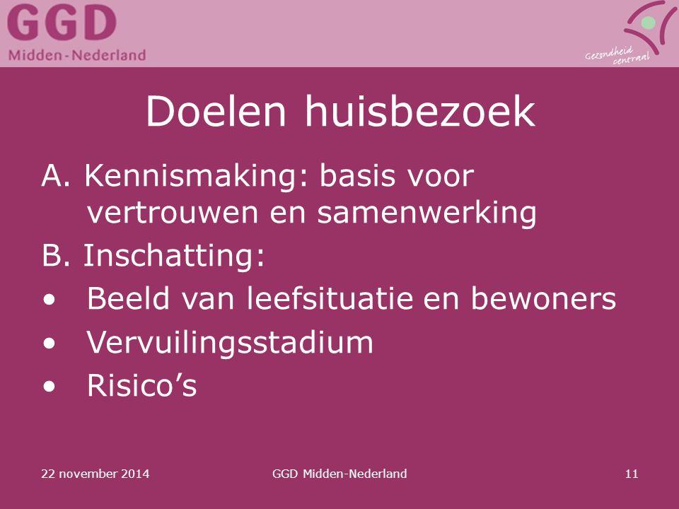 22 november 2014GGD Midden-Nederland11 Doelen huisbezoek A. Kennismaking: basis voor vertrouwen en samenwerking B. Inschatting: Beeld van leefsituatie