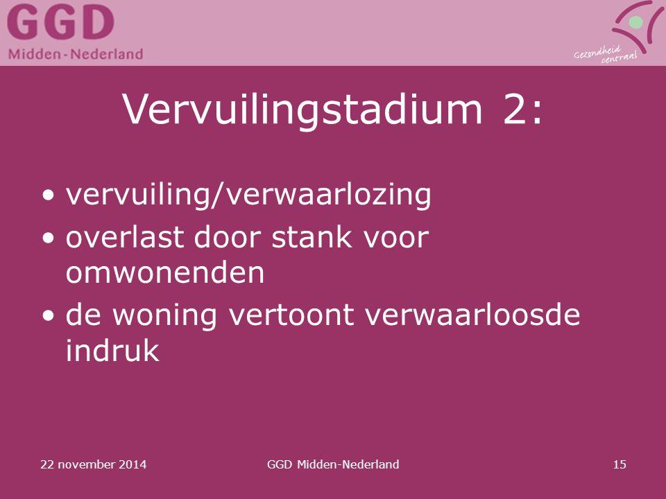 22 november 2014GGD Midden-Nederland15 Vervuilingstadium 2: vervuiling/verwaarlozing overlast door stank voor omwonenden de woning vertoont verwaarloo