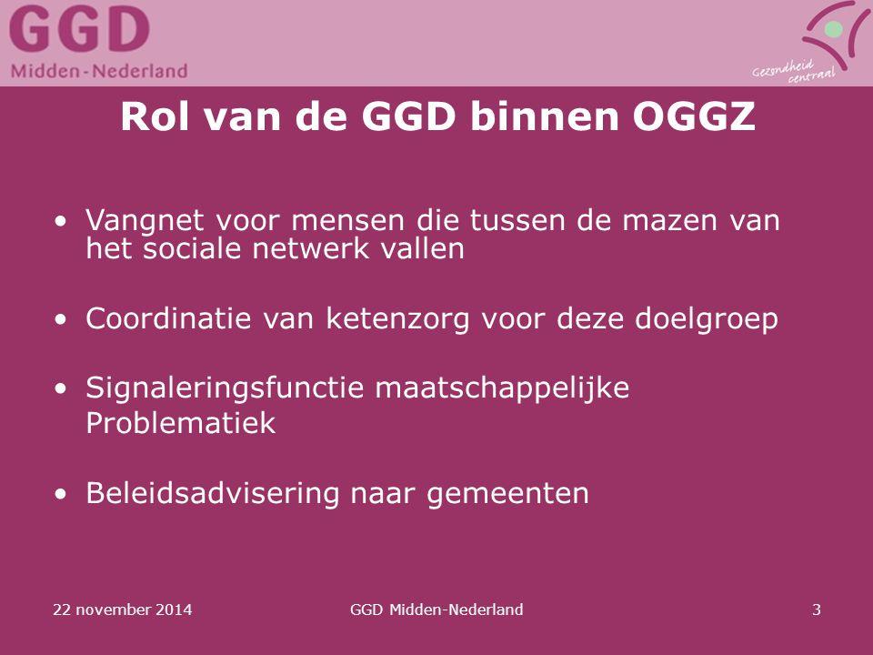 22 november 2014GGD Midden-Nederland3 Rol van de GGD binnen OGGZ Vangnet voor mensen die tussen de mazen van het sociale netwerk vallen Coordinatie va
