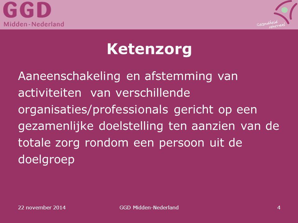 22 november 2014GGD Midden-Nederland4 Ketenzorg Aaneenschakeling en afstemming van activiteiten van verschillende organisaties/professionals gericht o