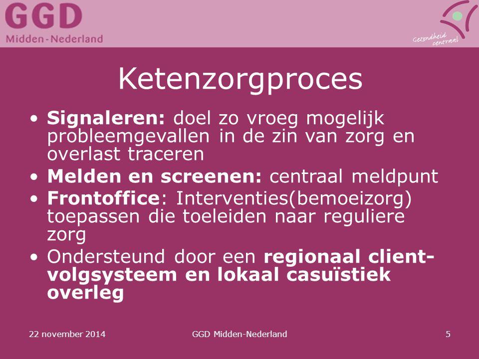 22 november 2014GGD Midden-Nederland5 Ketenzorgproces Signaleren: doel zo vroeg mogelijk probleemgevallen in de zin van zorg en overlast traceren Meld