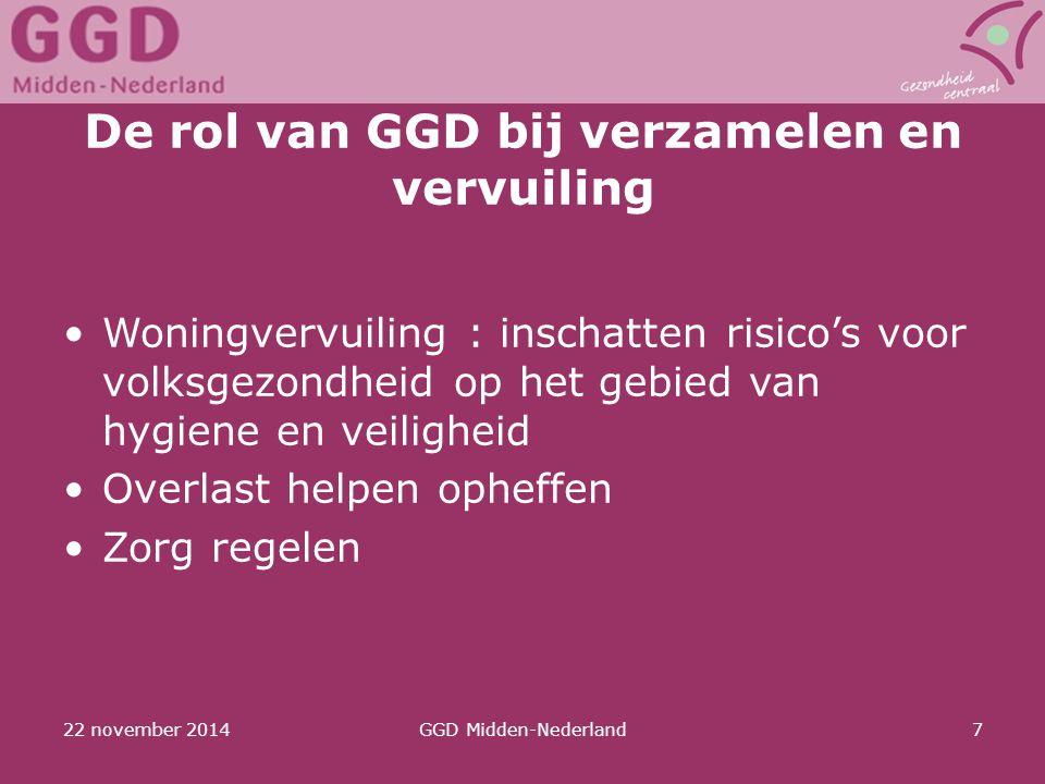 22 november 2014GGD Midden-Nederland7 De rol van GGD bij verzamelen en vervuiling Woningvervuiling : inschatten risico's voor volksgezondheid op het g