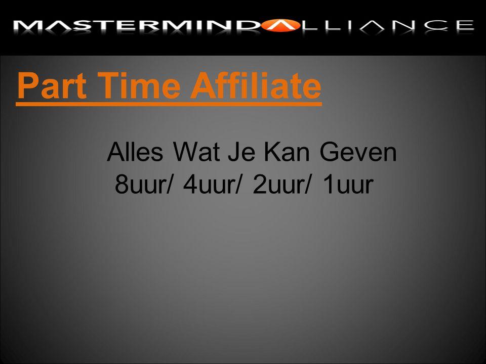 Part Time Affiliate Alles Wat Je Kan Geven 8uur/ 4uur/ 2uur/ 1uur