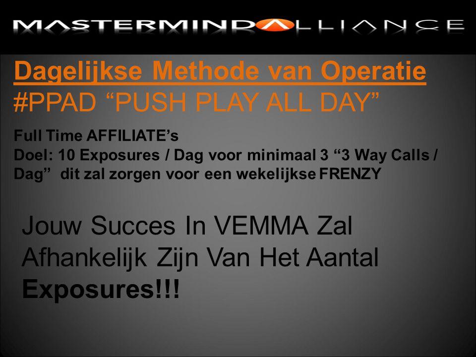 Dagelijkse Methode van Operatie #PPAD PUSH PLAY ALL DAY Jouw Succes In VEMMA Zal Afhankelijk Zijn Van Het Aantal Exposures!!.