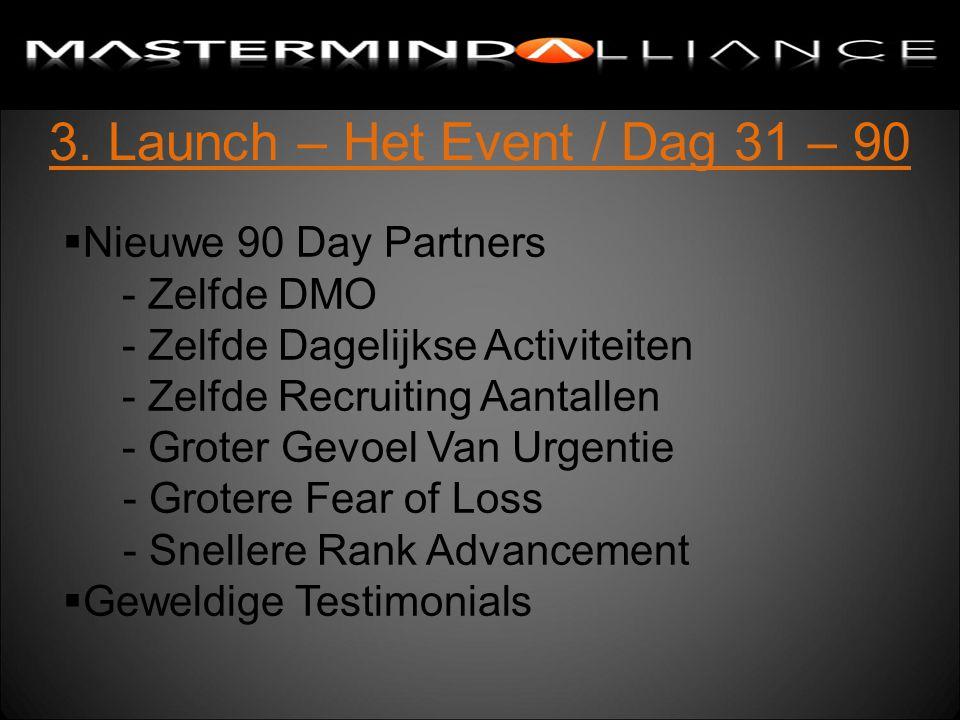 3. Launch – Het Event / Dag 31 – 90  Nieuwe 90 Day Partners - Zelfde DMO - Zelfde Dagelijkse Activiteiten - Zelfde Recruiting Aantallen - Groter Gevo