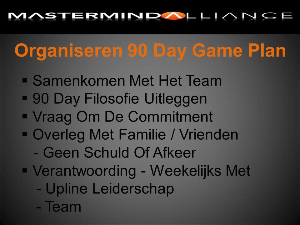 Organiseren 90 Day Game Plan  Samenkomen Met Het Team  90 Day Filosofie Uitleggen  Vraag Om De Commitment  Overleg Met Familie / Vrienden - Geen Schuld Of Afkeer  Verantwoording - Weekelijks Met - Upline Leiderschap - Team