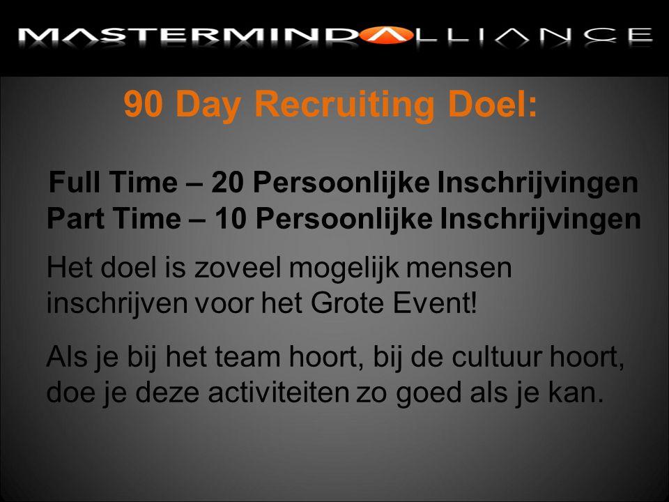 90 Day Recruiting Doel: Full Time – 20 Persoonlijke Inschrijvingen Part Time – 10 Persoonlijke Inschrijvingen Het doel is zoveel mogelijk mensen inschrijven voor het Grote Event.