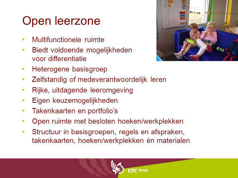 Open leerzone Multifunctionele ruimte Biedt voldoende mogelijkheden voor differentiatie Heterogene basisgroep Zelfstandig of medeverantwoordelijk lere