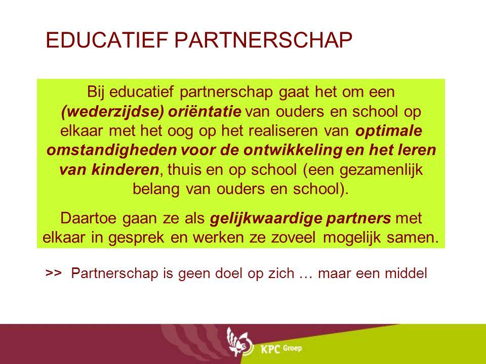 EDUCATIEF PARTNERSCHAP >> Partnerschap is geen doel op zich … maar een middel Bij educatief partnerschap gaat het om een (wederzijdse) oriëntatie van