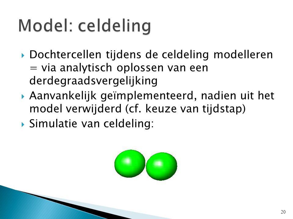  Dochtercellen tijdens de celdeling modelleren = via analytisch oplossen van een derdegraadsvergelijking  Aanvankelijk geïmplementeerd, nadien uit het model verwijderd (cf.