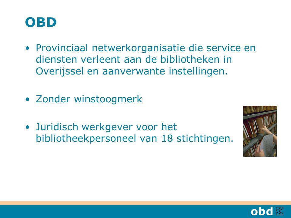 OBD Provinciaal netwerkorganisatie die service en diensten verleent aan de bibliotheken in Overijssel en aanverwante instellingen. Zonder winstoogmerk