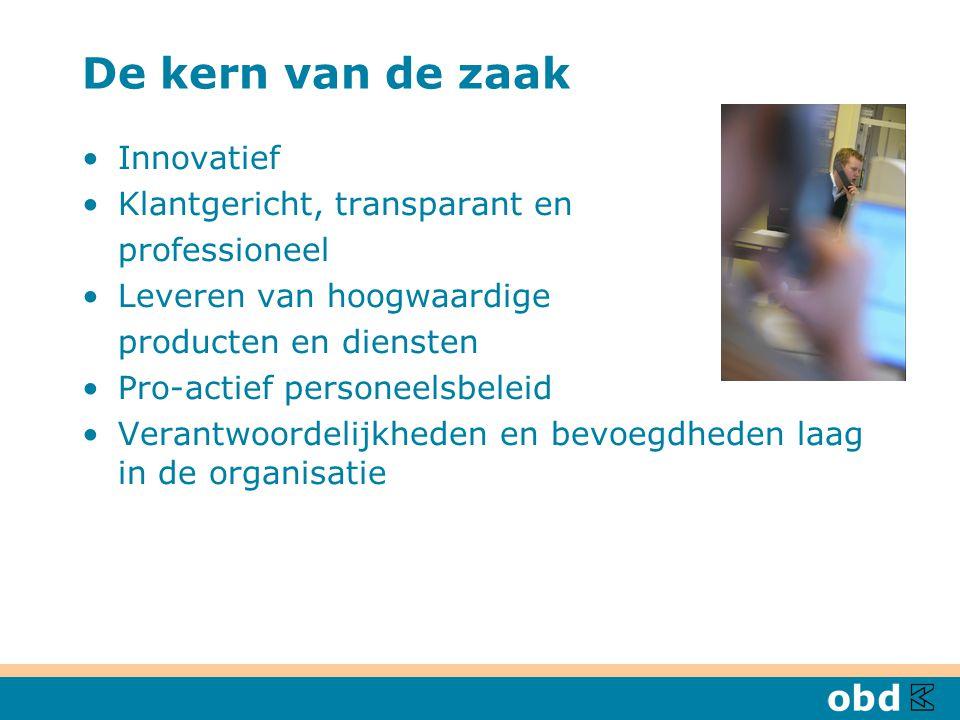 De kern van de zaak Innovatief Klantgericht, transparant en professioneel Leveren van hoogwaardige producten en diensten Pro-actief personeelsbeleid Verantwoordelijkheden en bevoegdheden laag in de organisatie