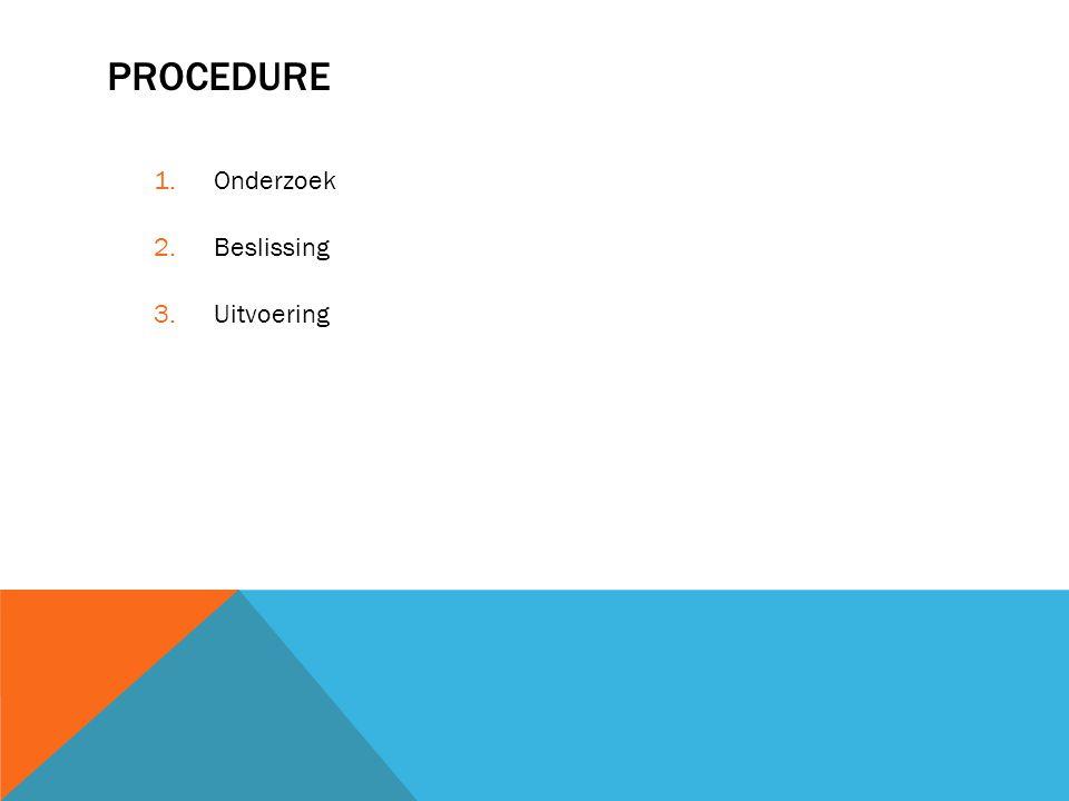 PROCEDURE 1.Onderzoek 2.Beslissing 3.Uitvoering