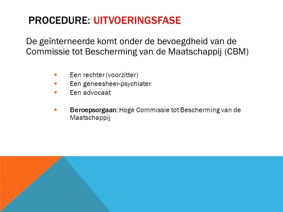 PROCEDURE: UITVOERINGSFASE De geïnterneerde komt onder de bevoegdheid van de Commissie tot Bescherming van de Maatschappij (CBM)  Een rechter (voorzi