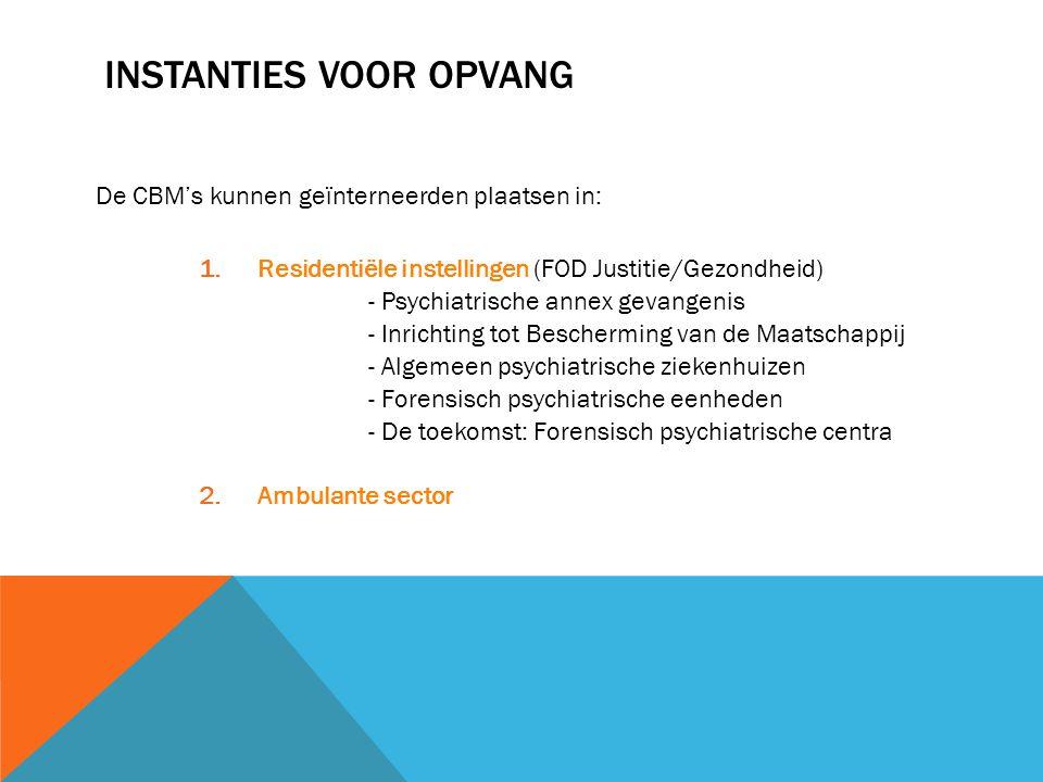 INSTANTIES VOOR OPVANG De CBM's kunnen geïnterneerden plaatsen in: 1.Residentiële instellingen (FOD Justitie/Gezondheid) - Psychiatrische annex gevang