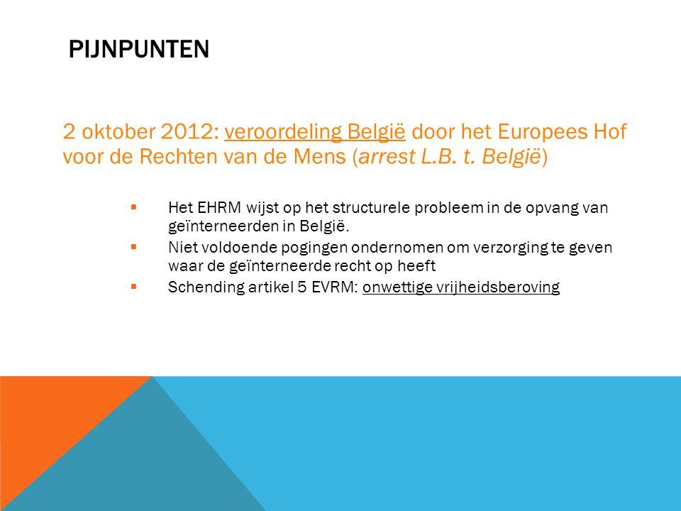 PIJNPUNTEN 2 oktober 2012: veroordeling België door het Europees Hof voor de Rechten van de Mens (arrest L.B. t. België)  Het EHRM wijst op het struc