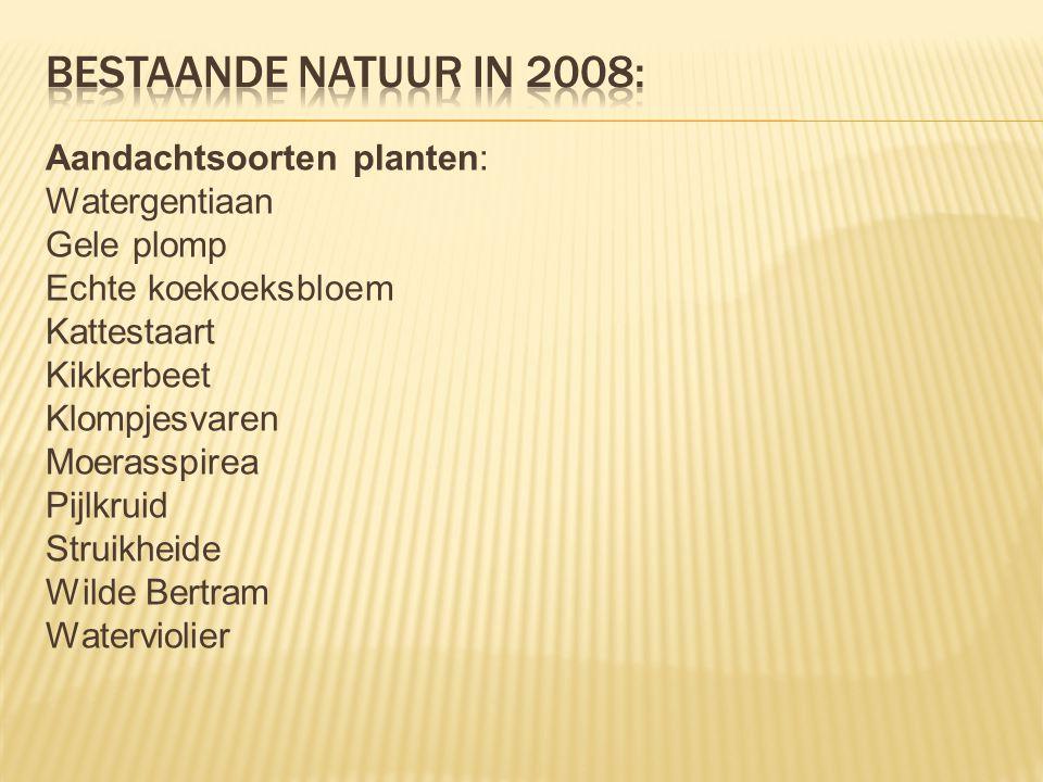 Aandachtsoorten planten: Watergentiaan Gele plomp Echte koekoeksbloem Kattestaart Kikkerbeet Klompjesvaren Moerasspirea Pijlkruid Struikheide Wilde Be
