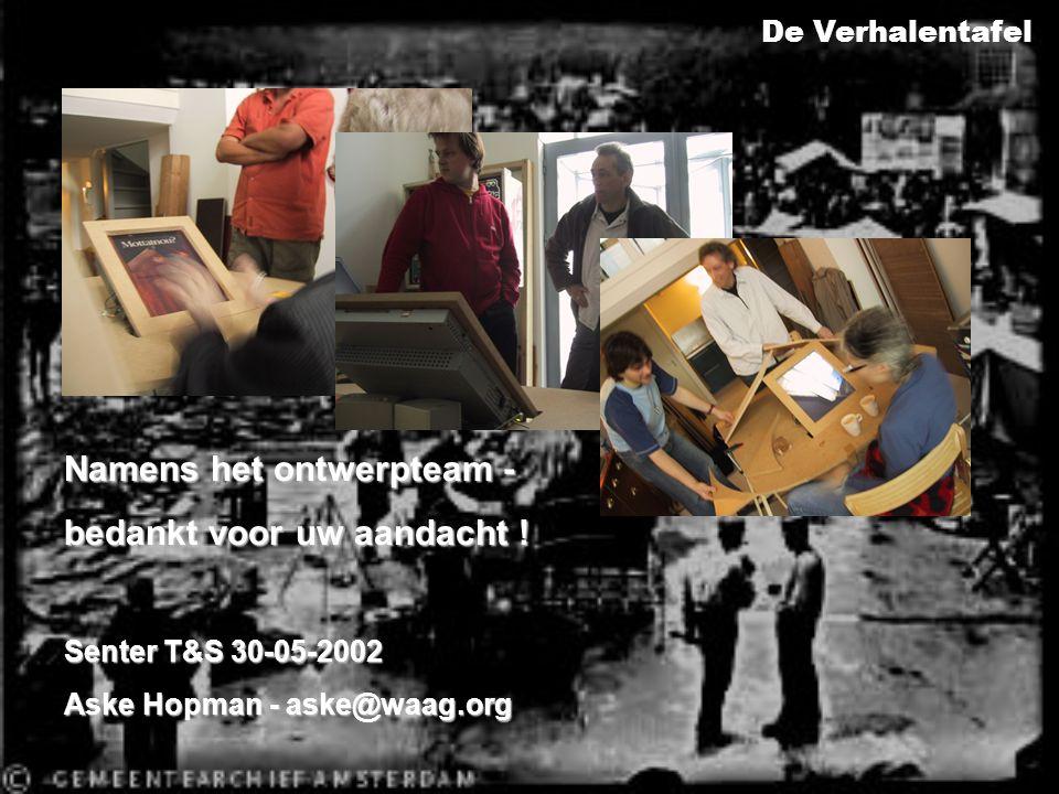 Namens het ontwerpteam - bedankt voor uw aandacht ! Senter T&S 30-05-2002 Aske Hopman - aske@waag.org