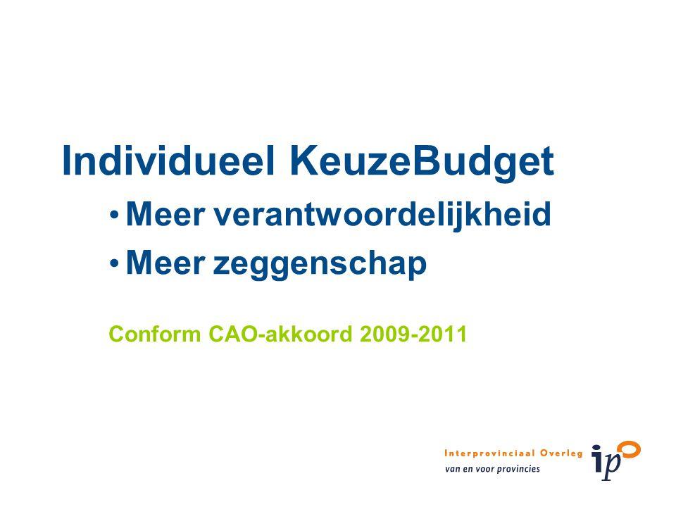 Individueel KeuzeBudget Meer verantwoordelijkheid Meer zeggenschap Conform CAO-akkoord 2009-2011