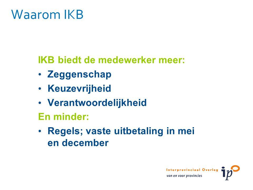 Waarom IKB IKB biedt de medewerker meer: Zeggenschap Keuzevrijheid Verantwoordelijkheid En minder: Regels; vaste uitbetaling in mei en december