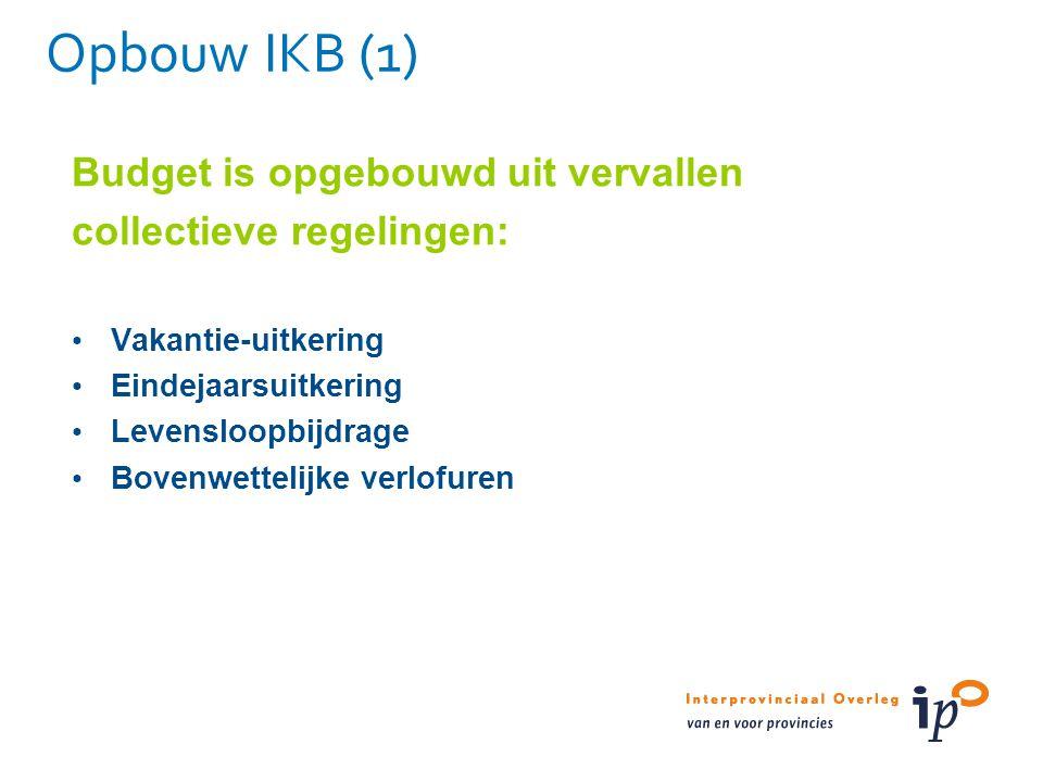 Opbouw IKB (1) Budget is opgebouwd uit vervallen collectieve regelingen: Vakantie-uitkering Eindejaarsuitkering Levensloopbijdrage Bovenwettelijke ver