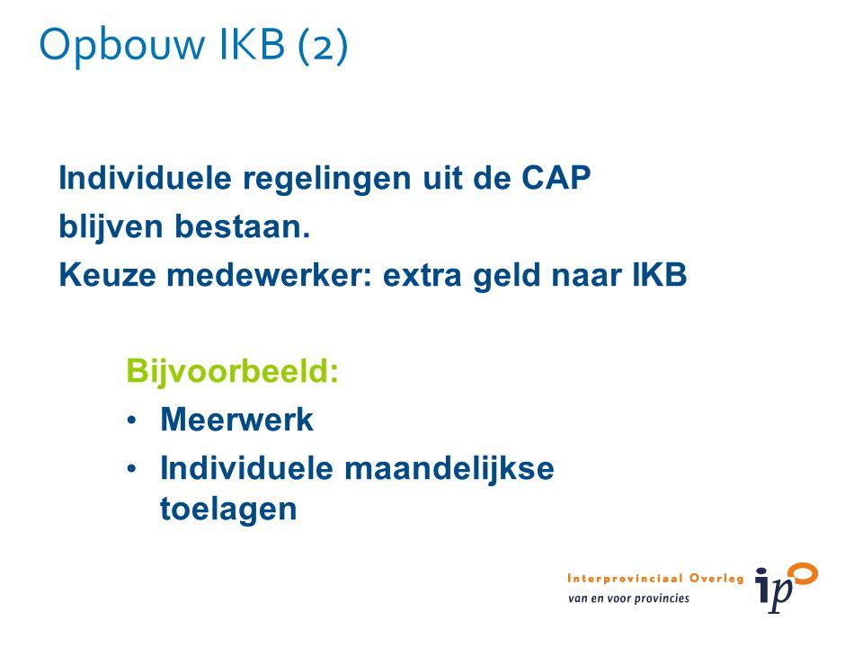 Opbouw IKB (2) Individuele regelingen uit de CAP blijven bestaan. Keuze medewerker: extra geld naar IKB Bijvoorbeeld: Meerwerk Individuele maandelijks