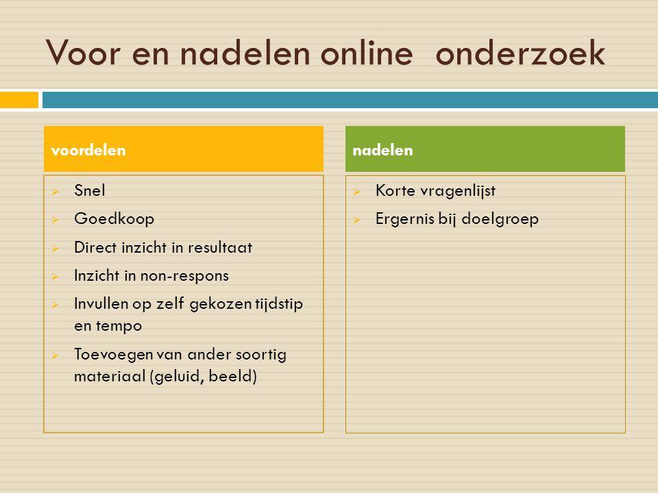 Voor en nadelen online onderzoek  Snel  Goedkoop  Direct inzicht in resultaat  Inzicht in non-respons  Invullen op zelf gekozen tijdstip en tempo
