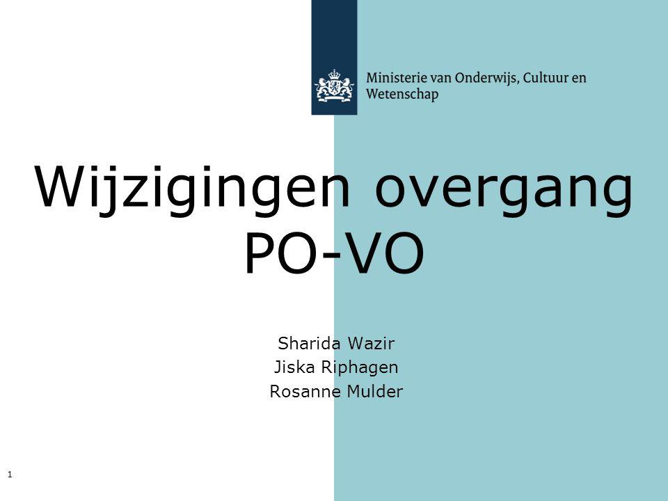 Sharida Wazir Jiska Riphagen Rosanne Mulder 1 Wijzigingen overgang PO-VO