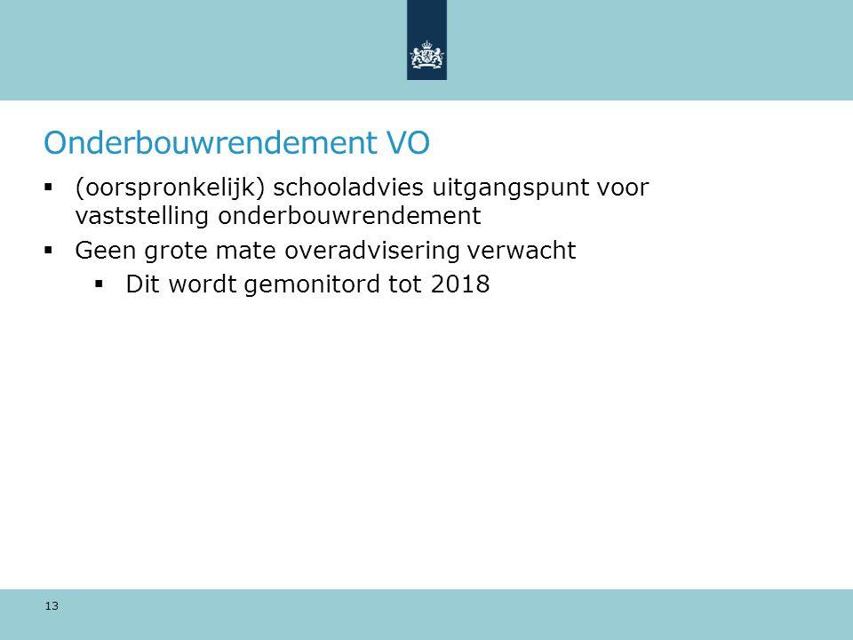 Onderbouwrendement VO  (oorspronkelijk) schooladvies uitgangspunt voor vaststelling onderbouwrendement  Geen grote mate overadvisering verwacht  Dit wordt gemonitord tot 2018 13