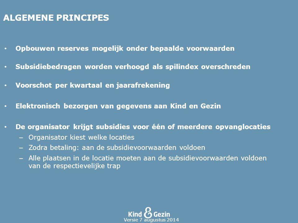ALGEMENE PRINCIPES Opbouwen reserves mogelijk onder bepaalde voorwaarden Subsidiebedragen worden verhoogd als spilindex overschreden Voorschot per kwa
