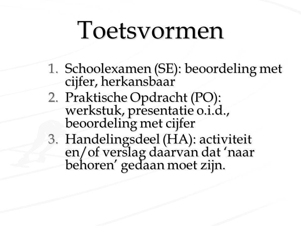 Toetsvormen 1.Schoolexamen (SE): beoordeling met cijfer, herkansbaar 2.Praktische Opdracht (PO): werkstuk, presentatie o.i.d., beoordeling met cijfer