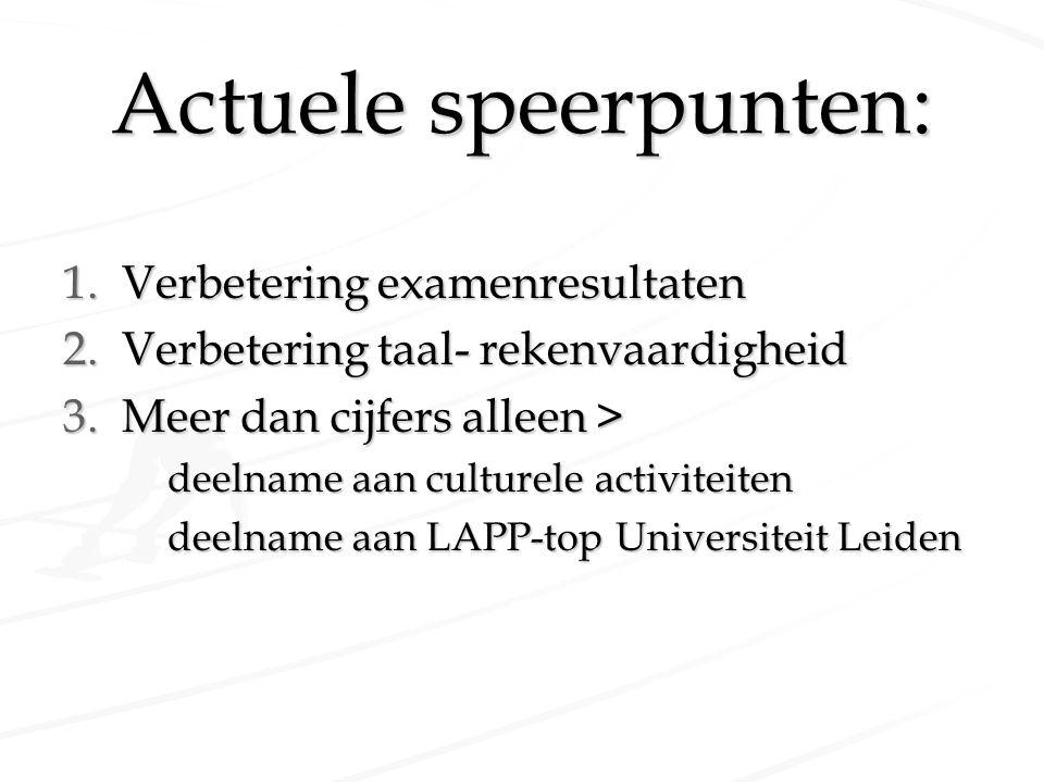 Actuele speerpunten: 1.Verbetering examenresultaten 2.Verbetering taal- rekenvaardigheid 3.Meer dan cijfers alleen > deelname aan culturele activiteit