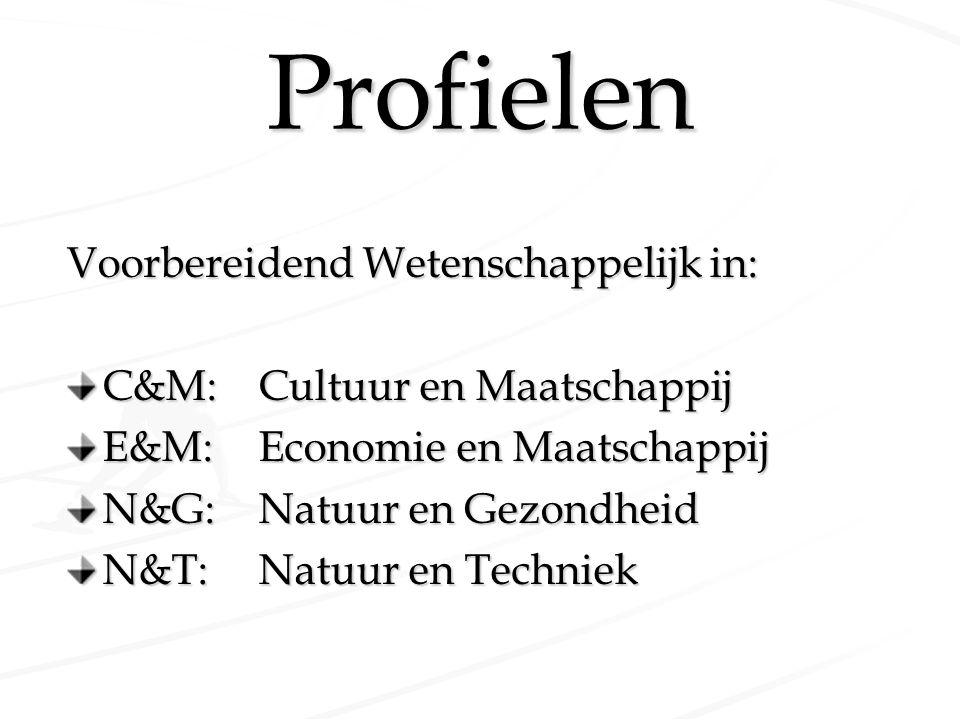 Profielen Voorbereidend Wetenschappelijk in: C&M:Cultuur en Maatschappij E&M:Economie en Maatschappij N&G:Natuur en Gezondheid N&T:Natuur en Techniek