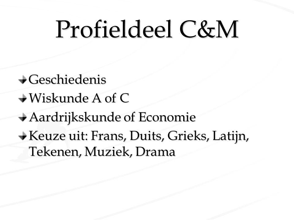 Profieldeel C&M Geschiedenis Wiskunde A of C Aardrijkskunde of Economie Keuze uit: Frans, Duits, Grieks, Latijn, Tekenen, Muziek, Drama