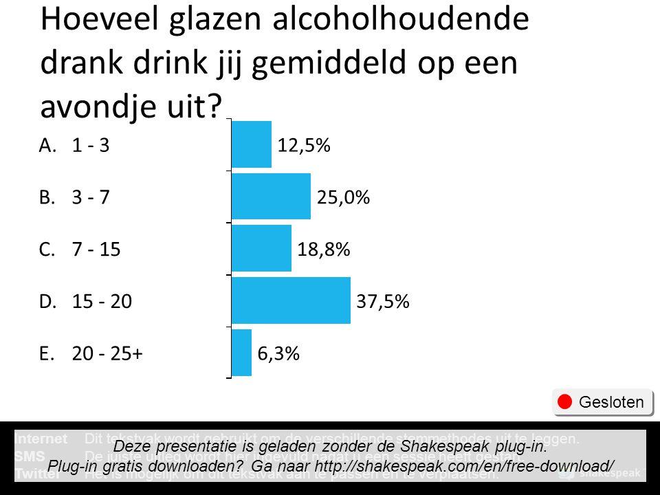 Hoeveel glazen alcoholhoudende drank drink jij gemiddeld op een avondje uit? A. B. C. D. E. 1 - 3 3 - 7 7 - 15 15 - 20 20 - 25+ 12,5% 25,0% 18,8% 37,5